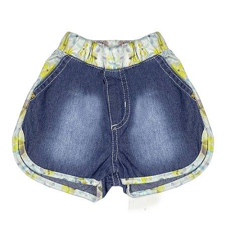 Shorts Bebê Look Jeans c/ Detalhe Jeans