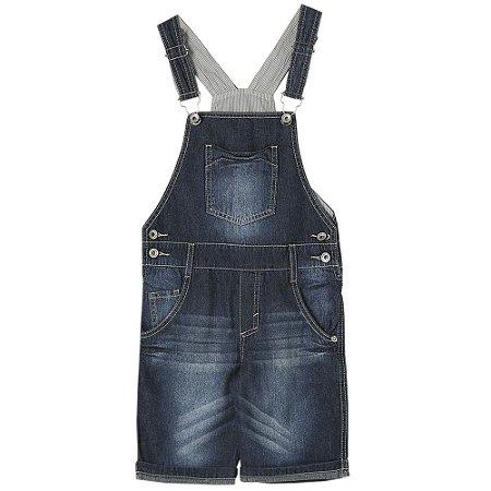 Jardineira Infantil Look Jeans Curta Jeans