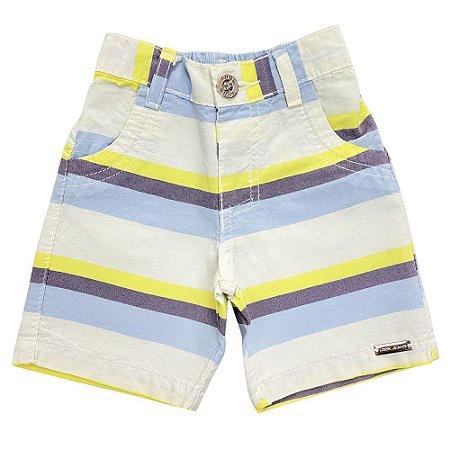 Shorts Bebê Look Jeans Listra Collor
