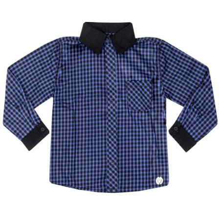 Camisa Infantil Look Jeans Manga Longa Xadrez Azul