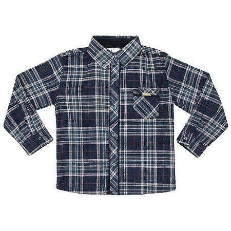 Camisa Infantil Look Jeans Manga Longa Xadrez Marinho