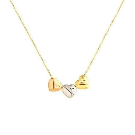 Brinco e corações em ouro amore mio