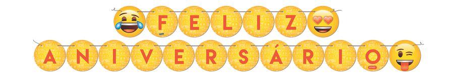 Faixa Festcolor Feliz Aniversário Emoji