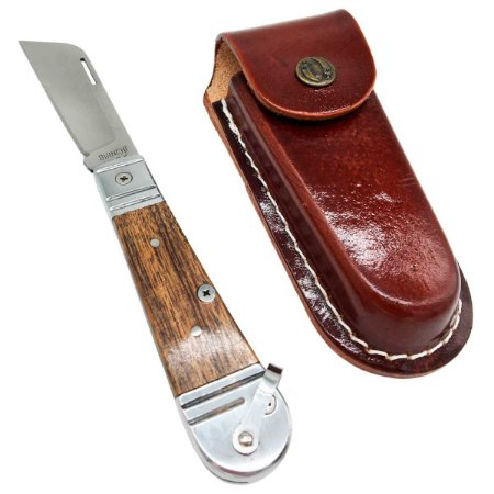 Canivete Bianchi Inox Cabo Madeira Rústica Lâmina Lisa + Bainha Retro