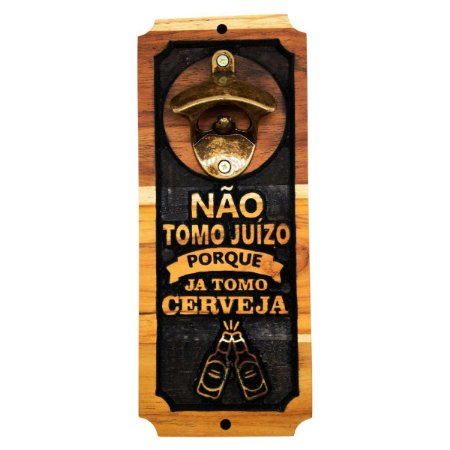 Abridor De Garrafas Para Parede Magnético Imã Madeira Teca Exclusivo - Não Tomo Juízo