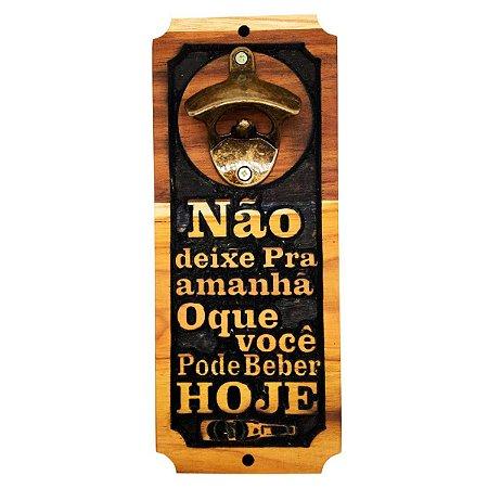 Abridor De Garrafas Para Parede Magnético Imã Madeira Teca Exclusivo - Não Deixe Pra amanha