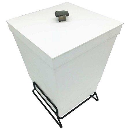 Lixeira Para Banheiro Cozinha Cesto Com Suporte 6,5L Branco Premium