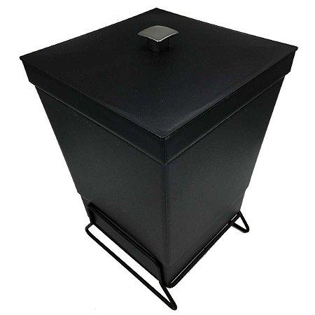 Lixeira Para Banheiro Cozinha Cesto Com Suporte 6,5L Preto Black Premium