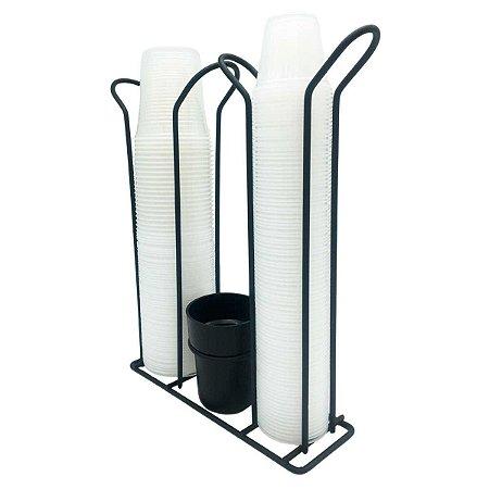 Porta Copos Descartáveis 50ml e 200ml Suporte Duplo + Porta Colherzinhas Aço Preto Fosco