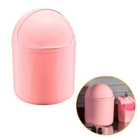 Lixeira Para Cozinha Pia Cesto Lixo Redondo Plástico 4L UZ Rosa