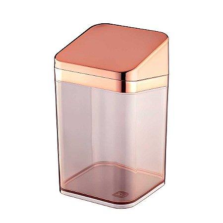 Porta Algodão Cotonete Multiuso Acrílico Premium Transparente UZ Rose