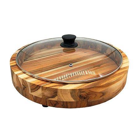 Gamela De Madeira Teca Redonda Com Tampa De Vidro Premium 36,5cm Grande Porções Petiscos