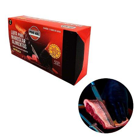 Luva Nitrilica Preta Sem Pó Para Alimentos e Churrasco Caixa com 12 Unidades Prime Grill
