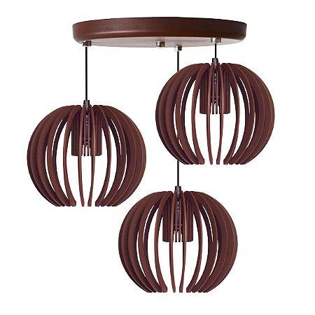 Luminária Pendente Trio Lustre Mdf Cabo e Canopla Alumínio Moderno Garnet Café