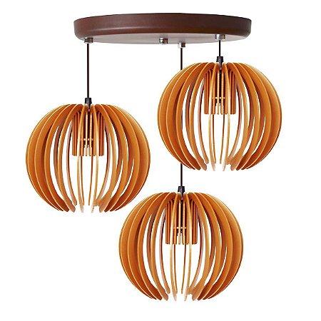 Luminária Pendente Trio Lustre Mdf Cabo e Canopla Alumínio Moderno Garnet Caramelo