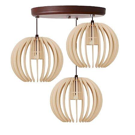 Luminária Pendente Trio Lustre Mdf Cabo e Canopla Alumínio Moderno Garnet Marfim