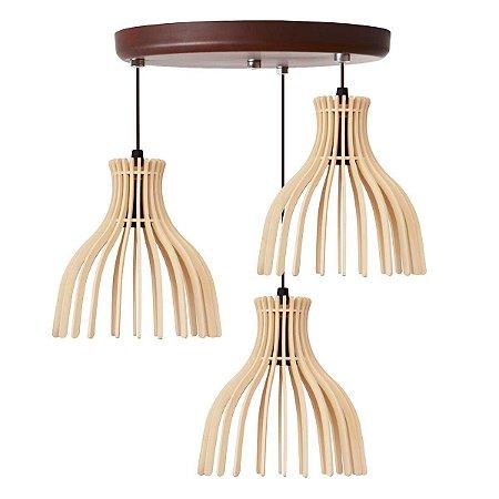 Luminária Pendente Trio Lustre Mdf Cabo e Canopla Alumínio Moderno Rutile Marfim