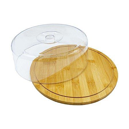 Boleira Porta Bolo Com Tampa Acrílica Bambu Transparente Minimalista Sustentável