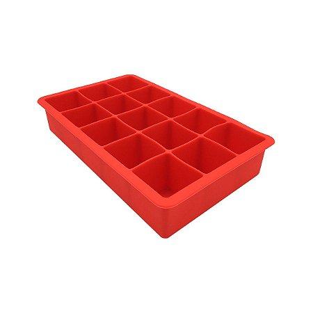 Forma De Gelo Silicone Maleável Flexível 15 Cubos Vermelha