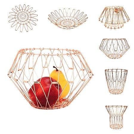 Fruteira de Mesa Aramada Ajustável 6 Opções Multiuso Prática Rose Gold