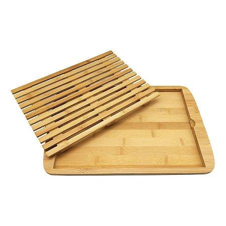 Migalheira De Bambu Para Corte De Pães Premium 36x24,5cm Eco Minimalista