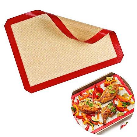 Tapete De Silicone Para Forno Antiaderente Fibra de Vidro Maleável Cozinhar Vermelho