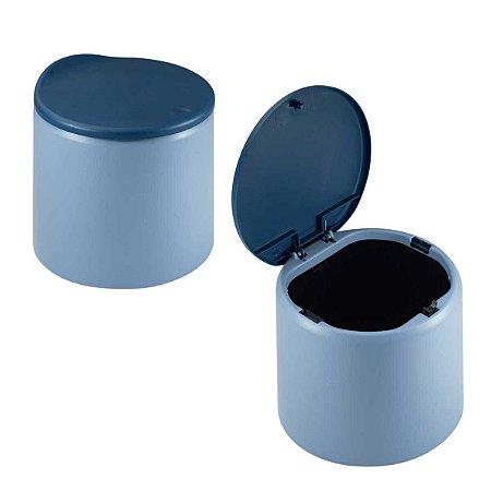 Lixeira Escritório Mini Cesto Lixo Mesa Pia Plástico Abertura Clique Azul