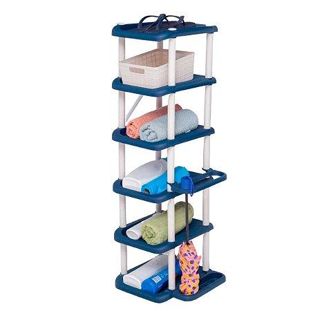 Sapateira Vertical Multiuso De Plástico Prateleira Desmontável Empilhável 11 Pares Azul