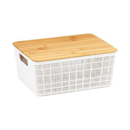 Caixa Organizadora Com Tampa de Bambu Pequena Multiuso Plástico Branca Decoração 4 Litros