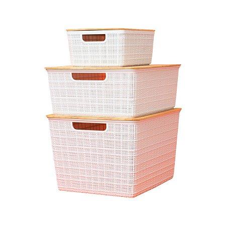 Kit 3 Caixas Organizadoras com Tampa Bambu Pequena Média Grande Branca - Oikos