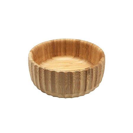 Bowl De Bambu Canelado Pequeno Redondo 15cm Servir Petiscos Porções Decoração Cozinha