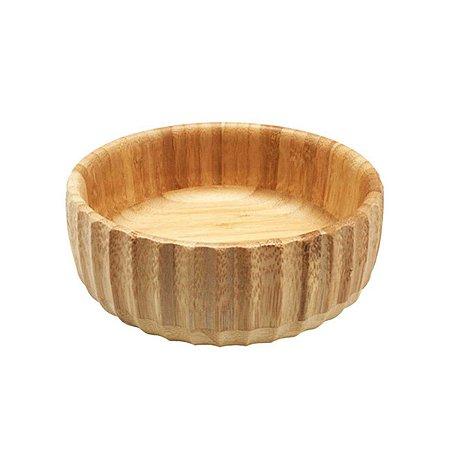 Bowl De Bambu Canelado Médio Redondo 19cm Servir Petiscos Porções Decoração Cozinha