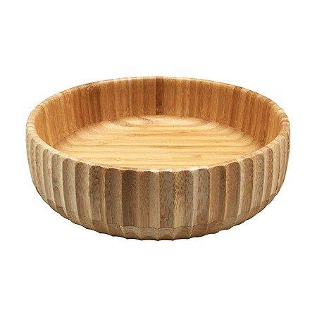 Bowl De Bambu Canelado Grande Redondo 22cm Servir Petiscos Porções Decoração Cozinha