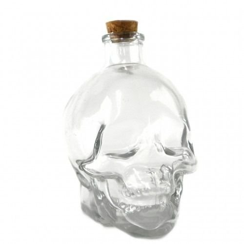 Garrafa De Vidro Em Formato De Caveira 380ml Whisky Vodka