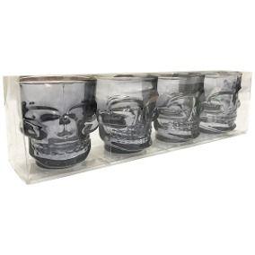 Kit com 4 Copos Dose Caveira Shot Vodka Tequila Preto