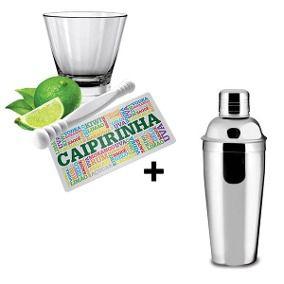 Kit Caipirinha Com Coqueteleira 750ml Personalizado Estampa 4 Peças
