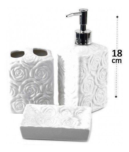 Conjunto Para Banheiro Cerâmica Desenho De Rosas Quadrado Premium Luxo 3 Peças Cor Branco Capacidade 480ml