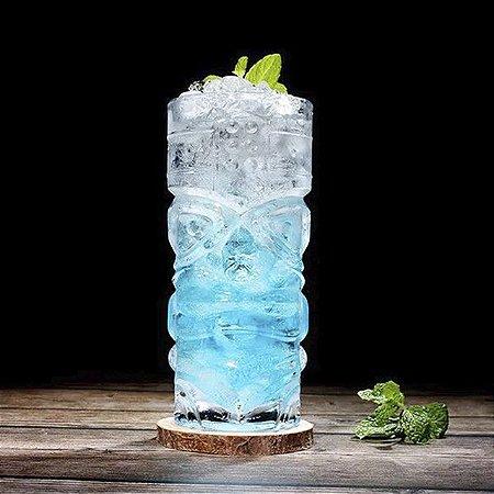Jogo 6 Copos Vidro Alto Tiki Para Bebidas Cocktails Tiki Maori Drinks Bar 420ml