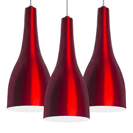 Luminária Trio Alumínio Pendente Modelo Garrafa Design Moderno Com Cabo e Canopla de Teto
