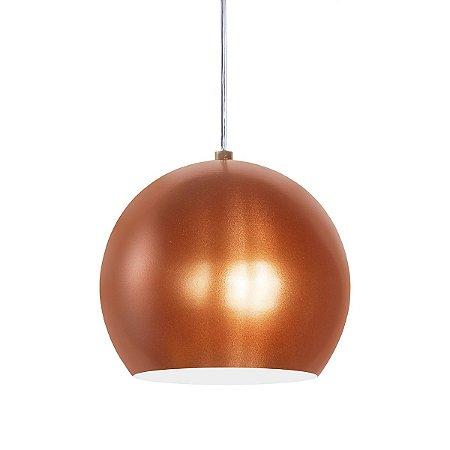 Luminária Alumínio Pendente Modelo Meia Bola Design Moderno Com Cabo e Canopla de Teto - 01 Unidade