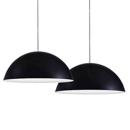 Luminária Dupla Alumínio Pendente Modelo Meia Lua 30cm Design Moderno Com Cabo e Canopla de Teto