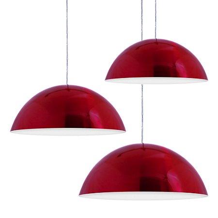 Luminária Trio Alumínio Pendente Modelo Meia Lua 30cm Design Moderno Com Cabo e Canopla de Teto