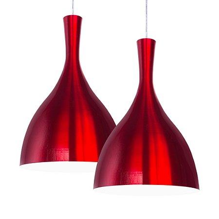 Luminária Dupla Alumínio Pendente Modelo New Buttle Design Moderno Com Cabo e Canopla de Teto