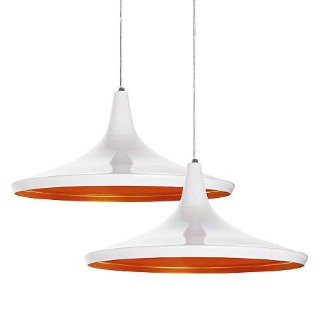 Luminária Dupla Alumínio Pendente Modelo Chapéu Chinês Design Moderno Com Cabo e Canopla de Teto