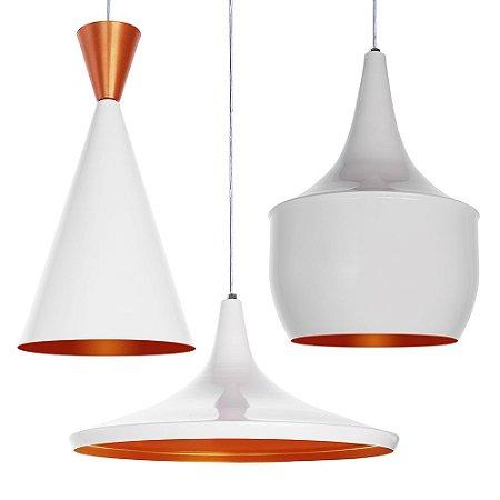 Luminária Trio Alumínio Pendente Modelo Tom Dixon Design Moderno Com Cabo e Canopla de Teto