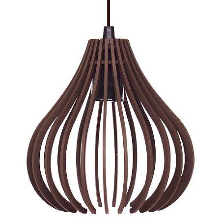 Luminária Pendente Madeira Mdf Modelo Rubi Design Moderno Com Cabo e Canopla de Teto