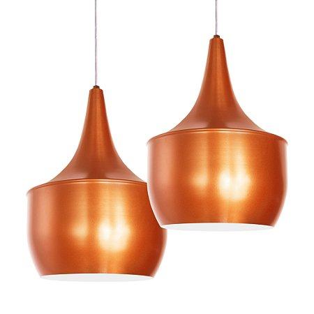 Luminária Pendente Dupla Alumínio Modelo Pera Design Moderno Com Cabo e Canopla Teto Redonda