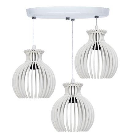 Luminária Lustre Trio Pendente Madeira Mdf Modelo Nácar De Mesa e Teto
