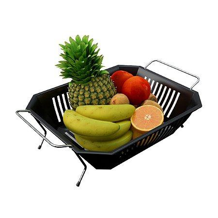 Fruteira De Mesa com Bandeja Preta Removível Com Alça Prática