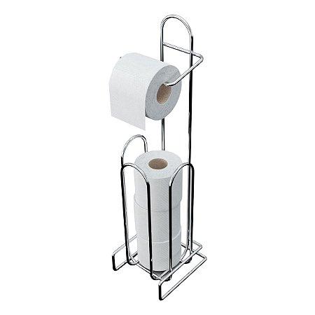 Porta Papel Higiênico Grande de Aço Cromado Sofisticado Suporta 4 Rolos